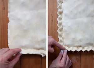 Pinch and seal the crust together, then crimp edges decoratively.