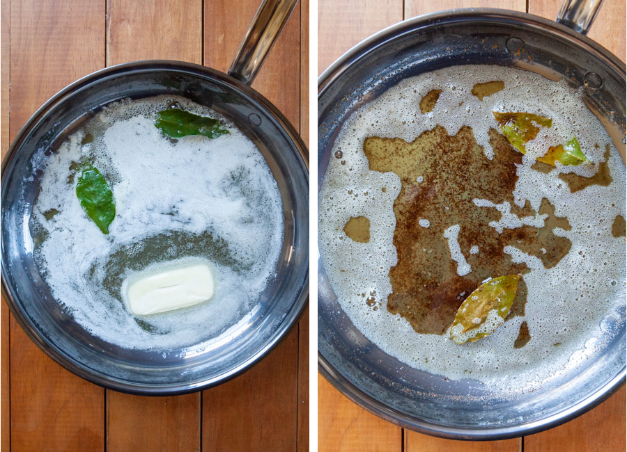 Brown the butter with the fresh bay leaves until the milk solids are golden brown.
