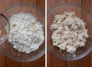 Drizzle water over crust ingredients then toss until dough forms.