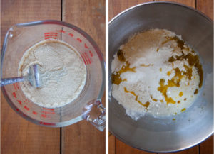 Add yeast to potato water, then add remaining dough ingredients to a stand mixer bowl.