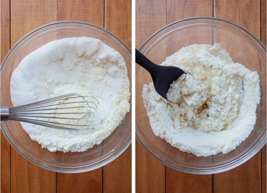Stir the dry ingredients together, then add the egg whites.