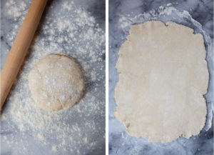 Roll one pie dough disk into a rectangle.