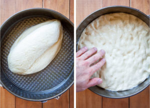 Dump dough into pan, then press out to spread it evenly into the bottom of the pan.
