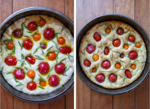 Bake focaccia until golden brown on top