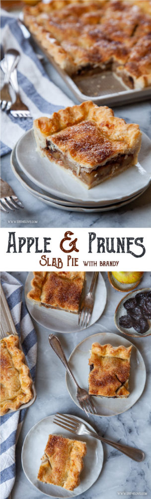 This Apple Slab Pie with Prunes and Brandy is an excellent fall and winter dessert, perfect for the holiday table, as you can make and portion it out in advance for a large crowd. #pie #slabpie #applepie #apple #baking #recipe #prunes #dessert #holiday #baking