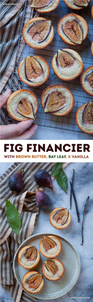 Fig financiers are adorable French-inspired tea cakes made with almond flour, brown butter and fresh bay leaf, as well as a healthy dose of vanilla! They are an easy-to-make yet impressive dish to serve at a party or with coffee or tea. #recipe #financier #almondcake #petitfour #fig #baking