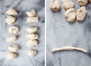Left image is the pizza dough divided into 12 equal pieces. Right image is one of those pieces rolled into a 8-inch long rope.