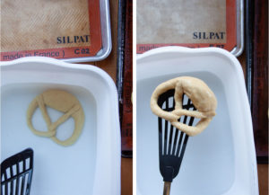 Left image is pretzel in a lye solution. Right image is a spatula lifting the pretzel out of the lye solution.
