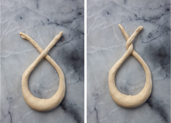 Left image is the pretzel dough with the arms crossed over once. Right image is the pretzel dough arms crossed and twisted twice.