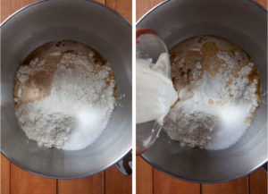 Left image is diastatic malt powder, water, barley malt syrup, yeast, flour and kosher salt in the bowl of a stand mixer. Right image is pre-ferment dough being added to the bowl with the dry ingredients.