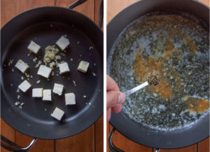 Left image is butter and garlic in a skillet. Right image is the cooked garlic and butter, with a hand adding dried oregano.