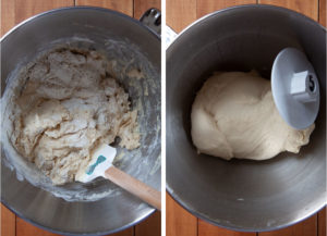 Left image is a spatula stirring ingredients into a shaggy dough. Right image is the dough after it has been kneaded and is smooth and elastic, wrapped around the dough hook of a stand mixer.
