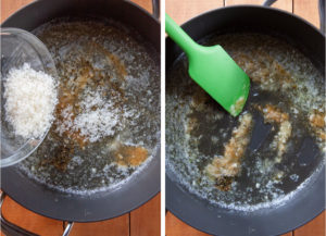 Left image is Parmesan cheese being added to the skillet with the garlic butter. Right image is a green spatula stirring it all together.