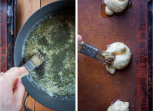 Left image is a brush being dipped into the skillet to get some garlic butter. Right image is the brush on top of the garlic knot on a baking sheet.