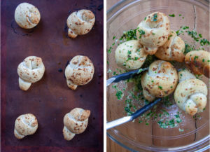 Left image is baked garlic knots on a baking sheet. Right image is garlic knots being tossed in a bowl with the garlic sauce with tongs.