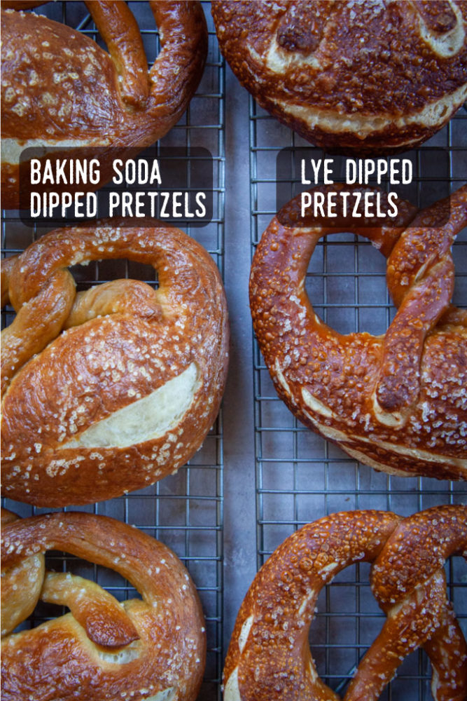 American style soft pretzels dipped in baking soda on the left compared to Bavarian style pretzels dipped in lye on the right.