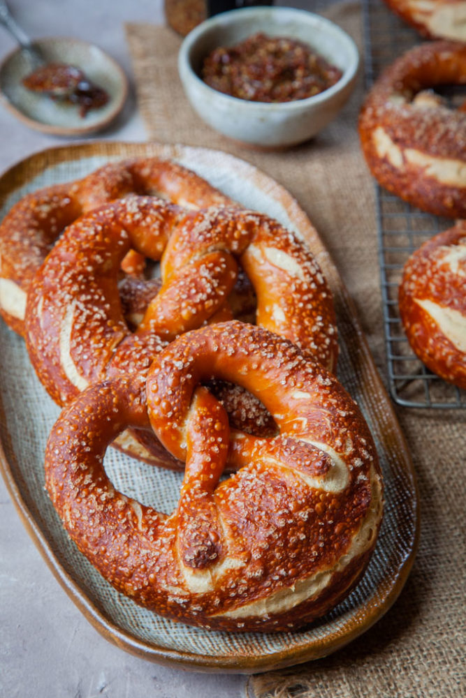 Bavarian pretzels on a plate.