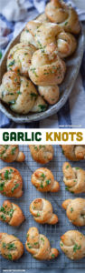These buttery classic garlic knots are a pizzeria favorite but are SUPER EASY to make at home! #recipe #garlicknot #rolls #dinnerrolls #garlic #garlicknot #pizzadough #pizza