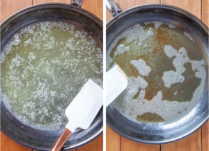 Left image is melted butter in a skillet. Right image is brown butter in a skillet.