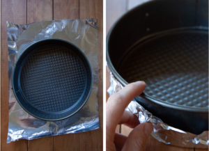 left image is springform pan on top of a piece of aluminum foil. Right image is a hand wrapping the foil up the side of the pan.