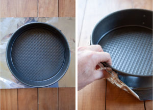 Left image is a springform pan on a piece of aluminum foil. Right image is a hand crinkling the foil around the the bottom and up the sides of the pan to keep the batter from potentially leaking out.