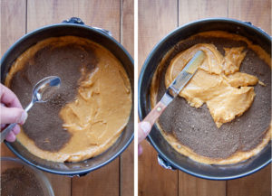 Left image is filling being sprinkled over half the cake batter. Right image is the remaining batter being spread over the filling.