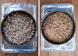 Left image is the cake on a rimmed baking sheet ready to be baked. Right image is the cake baked and the streusel golden brown on top.