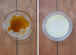Left image is liquid brown butter in a bowl. Right image is solidified cold brown butter in a bowl.