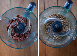 Left image is whole pecans in a food processor bowl. Right image is the pecan crushed into small bits in the food processor bowl.