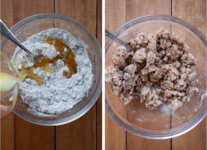 Left image is melted butter being poured in a bowl with ingredients for the pecan streusel crumb topping. Right image is the crumb topping ingredients mixed together.
