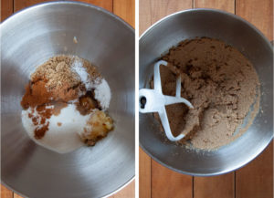 Left image is brown butter, white sugar, brown sugar, vanilla, cinnamon, nutmeg, baking soda and salt in a mixing bowl. Right image is the ingredients creamed together with the paddle attachment in the bowl..