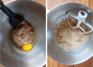 Left image is an egg added to the cookie dough. Right image is the egg mixed into the dough.