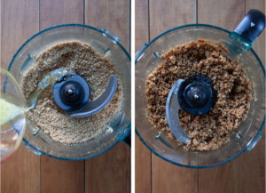 Left image is dry ingredients for the crumb crust in the bowl of a stand mixer with melted butter being poured into it. Right image is the wet moist crumb crust with the butter incorporated.