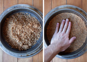 Left image is crumbs dumped in the bottom of a springform pan. Right image is a hand pressing the crumbs down into a crust.