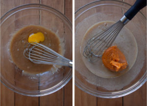 Left image an egg being added to the batter. Right image is pumpkin puree being added to the cake batter.