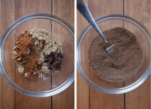 Left image is the filling ingredients of pumpkin spice, brown sugar and cocoa powder in a bowl. Right image is filling ingredients mixed together with a fork.