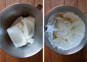 Left image is bricks of cream cheese in the bowl of a stand mixer. Right image is the cream cheese after it has been mixed and is creamy and clinging to the side of the bowl without lumps.