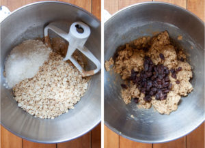 Left image is the flour and oats add to the cookie dough. Right image is raisins added to the cookie dough.