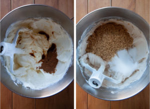 left image is cream cheese in mixing bowl with pumpkin pie spice and vanilla extract added. Right image is brown and white sugar added to the bowl.