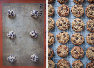 Left image is raw cookie dough balls on a silicon mat lined baking sheet ready to be baked. Right image is oatmeal raisin cookies on a wire rack cooling.