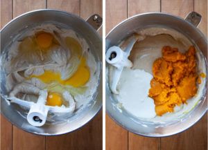 Left image is eggs added to the cheesecake filling. Right image is sour cream and pumpkin puree added to the cheesecake filling.