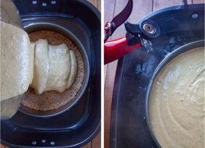 Left image is pumpkin cheesecake filling being poured into the pan. Right image is boiling water being poured into the roasting pan the pan of cheesecake is in.