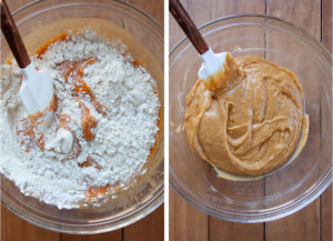 Left image is flour being mixed into the cake batter with a spatula. Right image is the cake batter mixed.