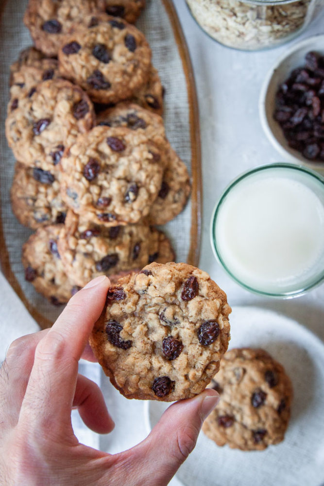 A hand lifting up an oatmeal raisin cookie with plates of cookies underneath it.
