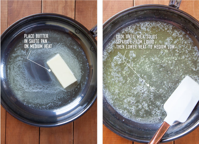 Left image is a stick of butter in a pan starting to melt. Right image is the butter melted with the milk solids at the bottom of the pan, with a spatula in the pan.