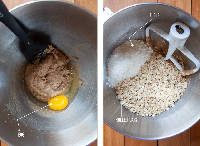 Left image is creamed butter and sugar with an egg added in a metal bowl. Right image is flour and rolled oats added to cookie dough in a metal bowl with the stand mixer paddle attachment in the bowl.