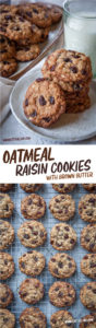 Top image is a couple plates of oatmeal raisin cookies with a glass of milk next to it. Bottom image is oatmeal raisin cookies on a wire rack.
