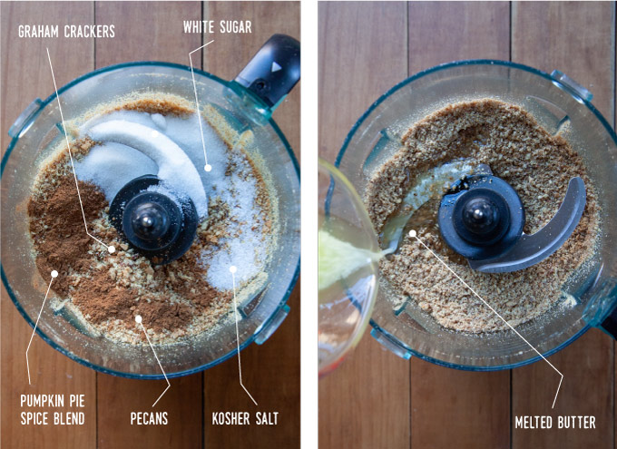 Left image is crushed pecans, graham cracker crumbs, pumpkin pie spice, salt and sugar in the bowl of food processor. Right image is melted butter being added to the bowl of ingredients.