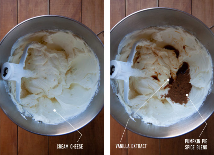 Left image is cream cheese mixed in the bowl of a stand mixer with the paddle attachment in the bowl. Right image is vanilla extract and pumpkin pie spice added to the bowl of cream cheese.
