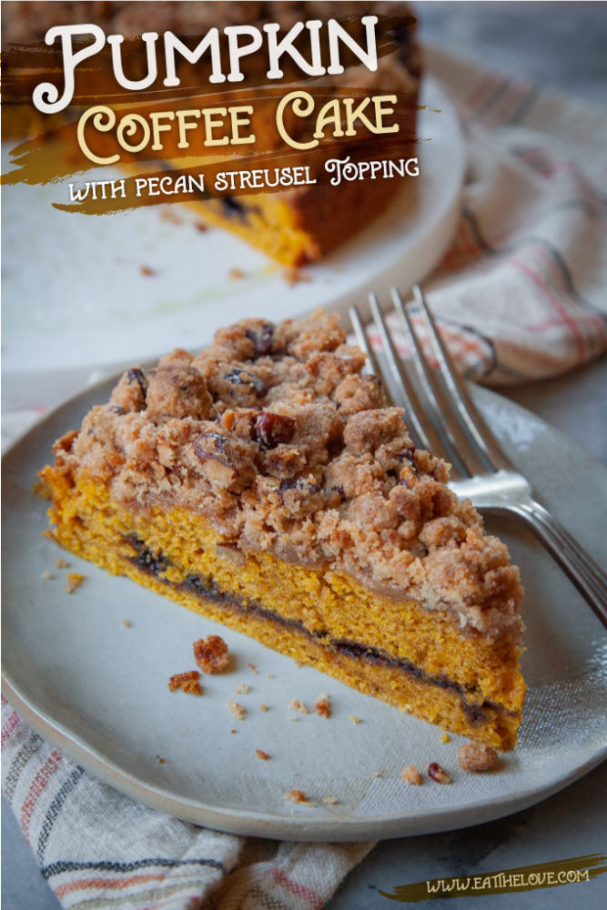 a slice of pumpkin coffee cake on a plate, with the remaining cake behind it.